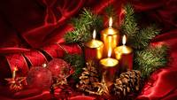 Merry Christmas Gold Candles Red Ribbon