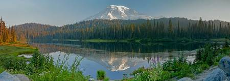 Mount Rainier above Reflection Lake Panorama