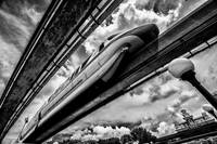 monorail in black & white
