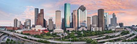 Houston Skyline at Sunset Pano