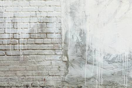 Brick Texture White Paint Dripping Grunge Backgrou