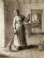 Woman Sweeping Her Home by Jean-François Millet
