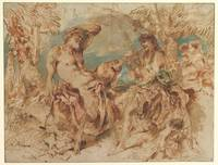 Youth Playing a Pipe for a Satyr , Giovanni Benede