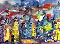 Impressions of Prague Modern Watercolor