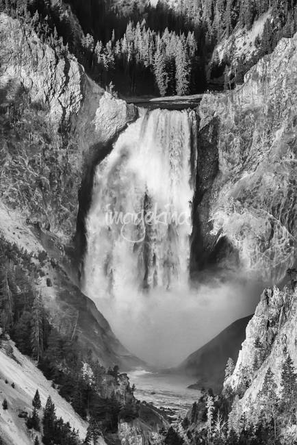 Upper Yellowstone Falls in Black and White