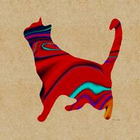 Standing Red Textured Cat