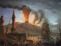Eruption of Vesuvius at Night by Charles François
