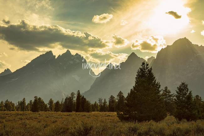 Smoky Golden Light On The Tetons