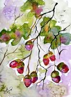 Acorns in the Autumn Sun Watercolor