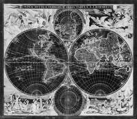 Black and White World Map (1685) Inverse
