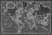 Black and White World Map (1766) Inverse