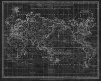 Black and White World Map (1799) Inverse