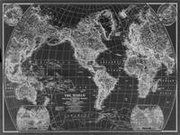 Black and White World Map (1922) Inverse