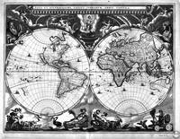 Black and White World Map (1664)