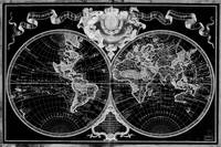 Black and White World Map (1720) Inverse