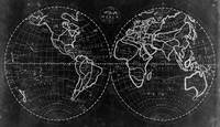 Black and White World Map (1811) Inverse