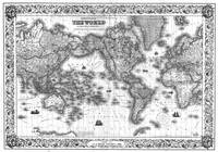 Black and White World Map (1852)