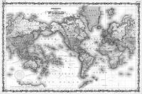 Black and White World Map (1860)