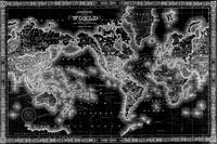 Black and White World Map (1864) Inverse