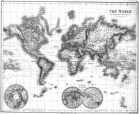Black and White World Map (1872)