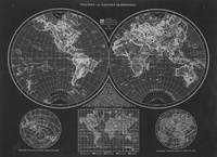Black and White World Map (1895) Inverse