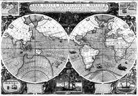 Black and White World Map (1595)