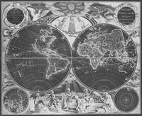 Black and White World Map (1668) Inverse
