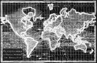 Black and White World Map (1780) Inverse