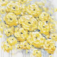 """""inspired"" Yellow Grey Flowers"" by ChristineBell"