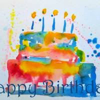 Happy Birthday, Rainbow Cake Art Prints & Posters by Claire Bull