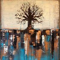 Abstract Tree in Teal Landscape