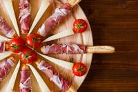 Close up of a typical Italian cutting board