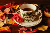 Cup of tea and autumnal foliage