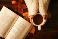 Woman hands holding teacup and opened book