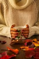 Woman hands holding teacup and autumnal foliage