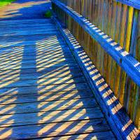 Blue Boardwalk Shadows  by Karen Adams