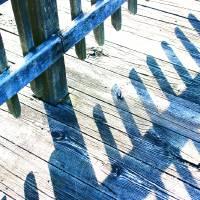 Blue Boardwalk Shadows and Glitter by Karen Adams