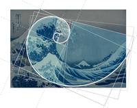 Hokusai Meets Fibonacci, Golden Ratio #2, No Text