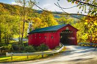 Red Covered Bridge and a Church, Vermont
