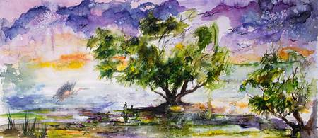 Wetland In The Mist Landscape Watercolor