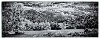 Wooded mountain foothills - B&W HDR