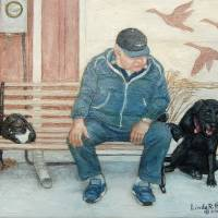 My Father Sitting on his Bench with His Dog & Cat Art Prints & Posters by Linda Hammar - Del Favero