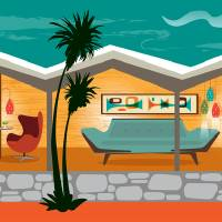 """Mid Century Modern House - Folded Plate Roof"" by DianeDempseyDesign"