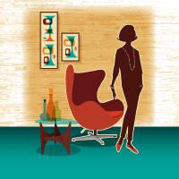 Mid Century Modern Egg Chair + Swanky Lady Art Prints & Posters by Diane Dempsey