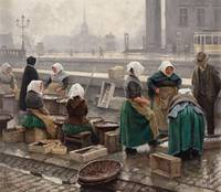 PAUL FISCHER, FISHMARKET SCENE FROM COPENHAGEN.