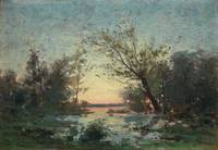 PER EKSTRÖM, FRENCH LANDSCAPE IN SUNSET.