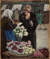 Paul Fischer, (1860-1934), Flower market in Copenh