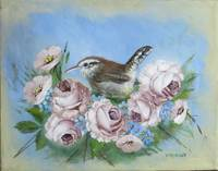 Bird Painting with Roses, a Bewicks Wren