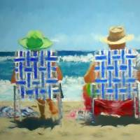 mom and dad on beach Art Prints & Posters by Tom Sachse