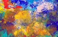 Abstract Blue Yellow Orange and Red